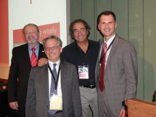 Prof.dr. Dragan Primorac, prof.dr. Hans Kress, predsjednik Europske federacije za liječenje boli, prof.dr. Guido Fanelli, prof.dr. Marco Spizzichino iz Ministarstva zdravlja Republike Italije